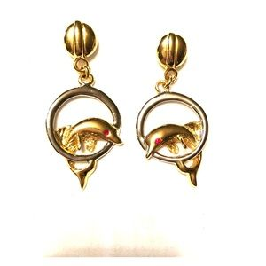 Dolphin (Gold tone ) earrings with Ruby eyes
